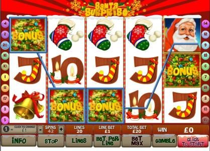 three bonus symbols on an active payline trigger the christmas bonus feature