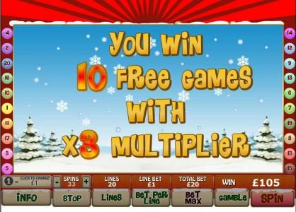10 free games with x3 multiplier are awarded