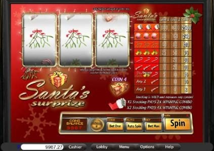 Play slots at Lucky Creek: Lucky Creek featuring the Video Slots Santa's Suprize with a maximum payout of $2,500