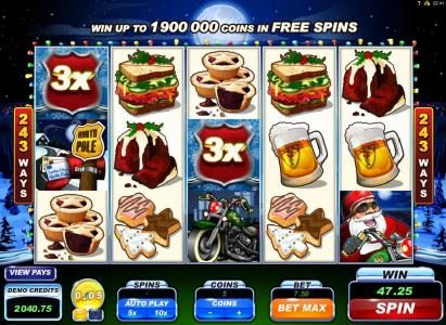 Casino Action featuring the Video Slots Santa's Wild Ride with a maximum payout of $475,000