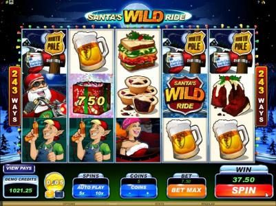 Ruby Fortune featuring the Video Slots Santa's Wild Ride with a maximum payout of $475,000