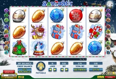 Vegas Winner featuring the Video Slots Santastic with a maximum payout of $20,000