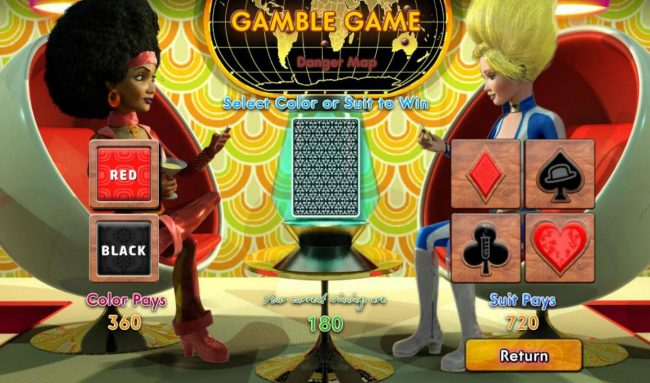 Sassy Spies :: Gamble Feature - To gamble any win press Gamble then select Red or Black or Suit