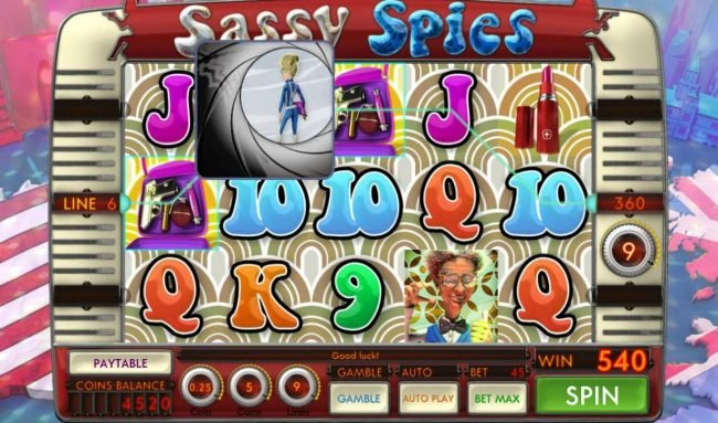 Sassy Spies :: Free Spins feature pays out a total of 540 credits