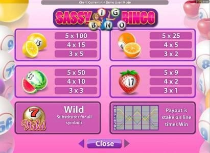 Platinum Play featuring the Video Slots Sassy Bingo with a maximum payout of $50,000