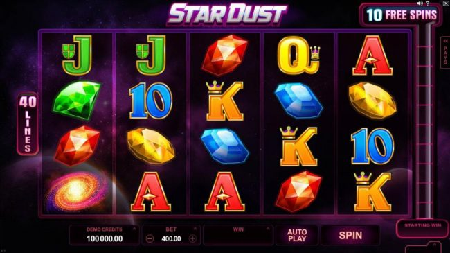 7Sultans featuring the Video Slots Star Dust with a maximum payout of $400,000
