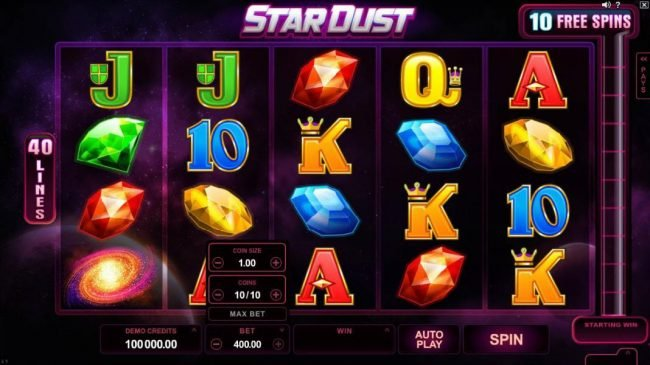 Fun Casino featuring the Video Slots Star Dust with a maximum payout of $400,000