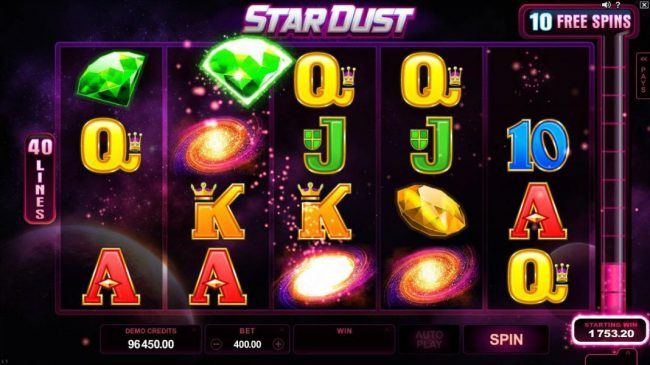 Casino France Net featuring the Video Slots Star Dust with a maximum payout of $400,000