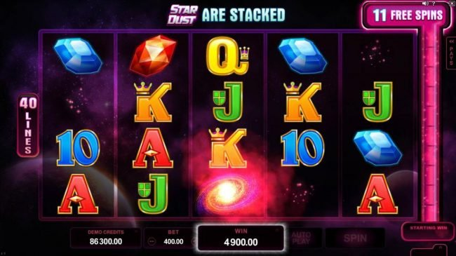 Cinema featuring the Video Slots Star Dust with a maximum payout of $400,000