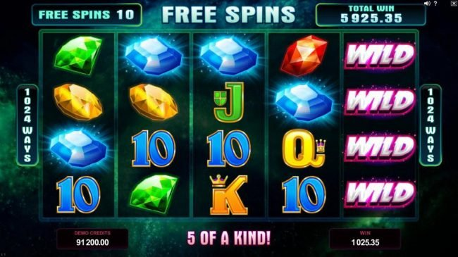 Vegas Slot featuring the Video Slots Star Dust with a maximum payout of $400,000