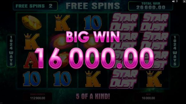 Noxwin featuring the Video Slots Star Dust with a maximum payout of $400,000