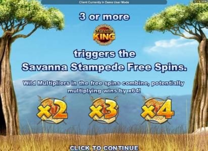 PropaWin featuring the Video Slots Savanna King with a maximum payout of $64,000