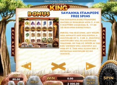 Euro Palace featuring the Video Slots Savanna King with a maximum payout of $64,000