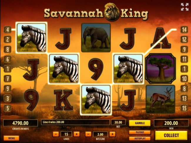 Royale24 featuring the Video Slots Savannah King with a maximum payout of $250,000