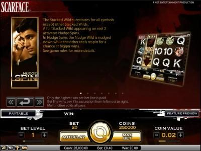 Freaky Vegas featuring the Video Slots Scarface with a maximum payout of $10,000