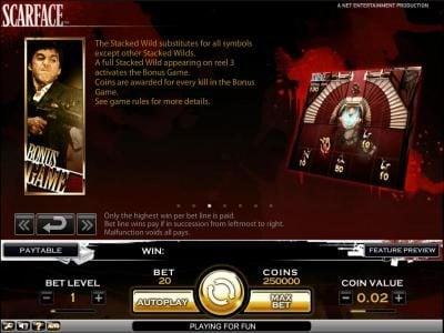 Prime Slots featuring the Video Slots Scarface with a maximum payout of $10,000