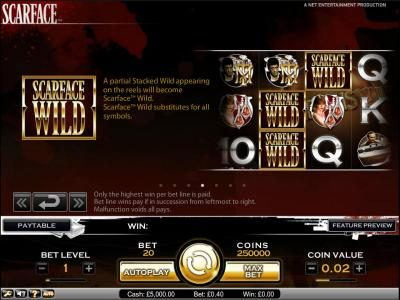 LaFiesta featuring the Video Slots Scarface with a maximum payout of $10,000