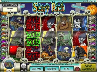 Ruby Royal featuring the Video Slots Scary Rich with a maximum payout of $5,000