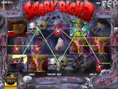 Scary Rich 3 :: multiple winning paylines triggers a $78 jackpot