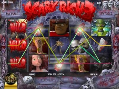 Scary Rich 3 :: an expanding wild triggers a $281 big win during the free spins feature