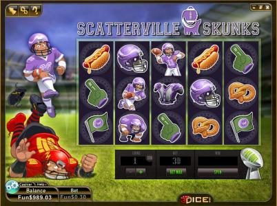 3Dice featuring the Video Slots Scatterville Skunks with a maximum payout of 6480 coins