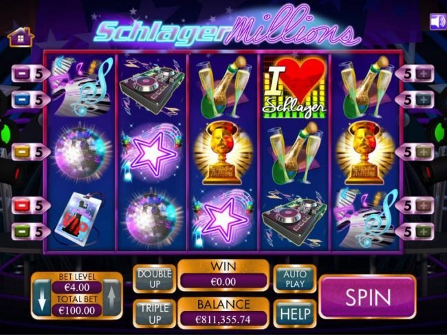 Play slots at Euro Palace: Euro Palace featuring the Video Slots Schlagermillions with a maximum payout of $4,000