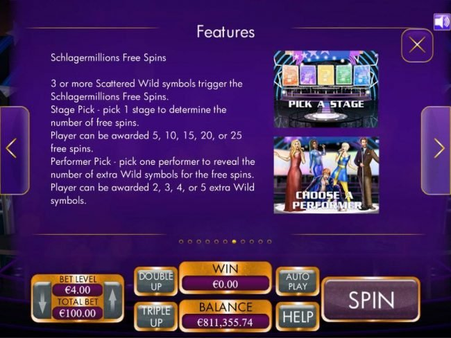 Crystal featuring the Video Slots Schlagermillions with a maximum payout of $4,000
