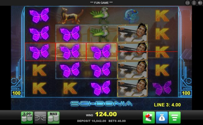 Party Casino featuring the Video Slots Sci-Donia with a maximum payout of $20,000