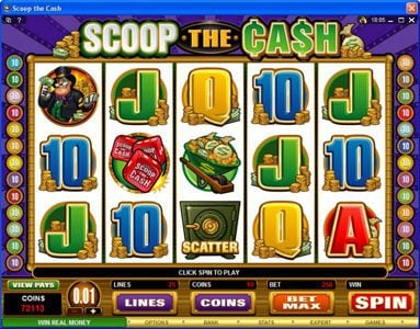 Spinrider featuring the Video Slots Scoop the Cash with a maximum payout of $10,000
