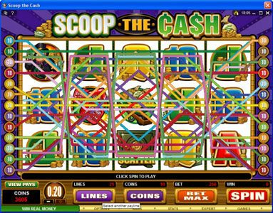Videoslots featuring the Video Slots Scoop the Cash with a maximum payout of $10,000