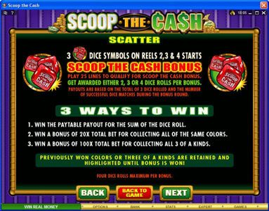 Vegas Seven featuring the Video Slots Scoop the Cash with a maximum payout of $10,000
