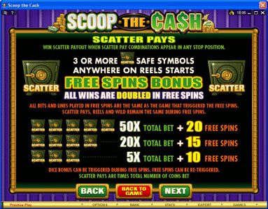 Lucky Nugget featuring the Video Slots Scoop the Cash with a maximum payout of $10,000