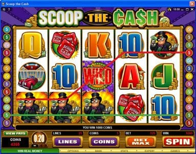 Mr Green featuring the Video Slots Scoop the Cash with a maximum payout of $10,000