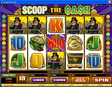 Simba Games featuring the Video Slots Scoop the Cash with a maximum payout of $10,000