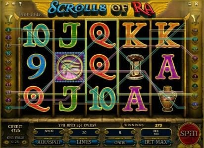 Wicked Bet featuring the Video Slots Scrolls of Ra with a maximum payout of $50,000