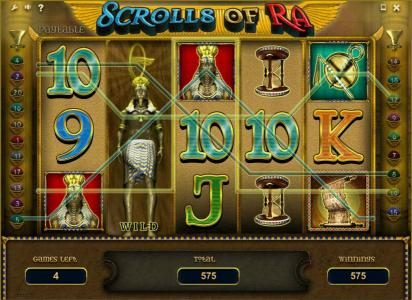 Leo Vegas featuring the Video Slots Scrolls of Ra with a maximum payout of $50,000