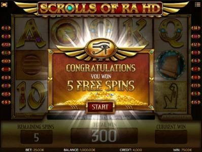 Tangiers featuring the Video Slots Scrolls of Ra HD with a maximum payout of $50,000