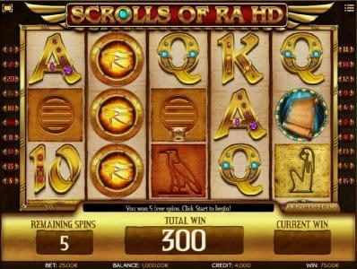 Karamba featuring the Video Slots Scrolls of Ra HD with a maximum payout of $50,000