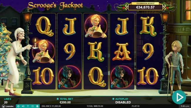 Euro Slots featuring the Video Slots Scrooge's Jackpot with a maximum payout of $500,000