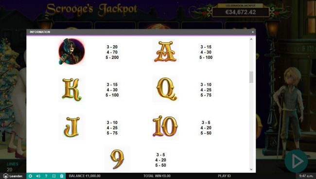 Instacasino featuring the Video Slots Scrooge's Jackpot with a maximum payout of $500,000