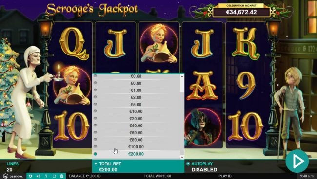Miami Dice featuring the Video Slots Scrooge's Jackpot with a maximum payout of $500,000