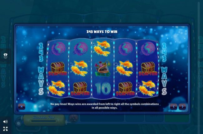 243 Ways to Win - No pay lines! Ways wins are awarded from left to right all the symbols combinations in all possible ways.