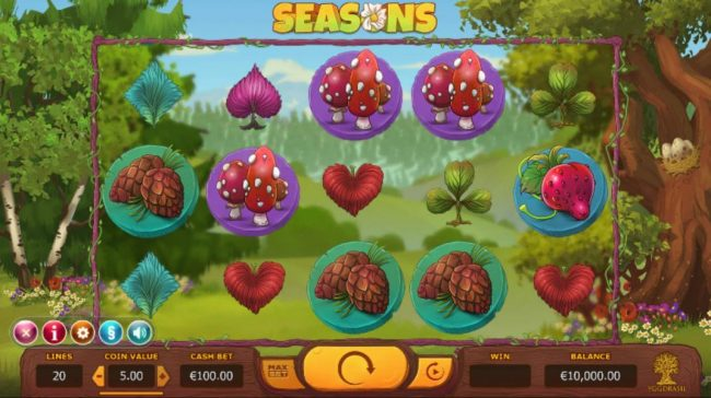 Seasons :: Main game board featuring five reels and 20 paylines with a $153,800 max payout