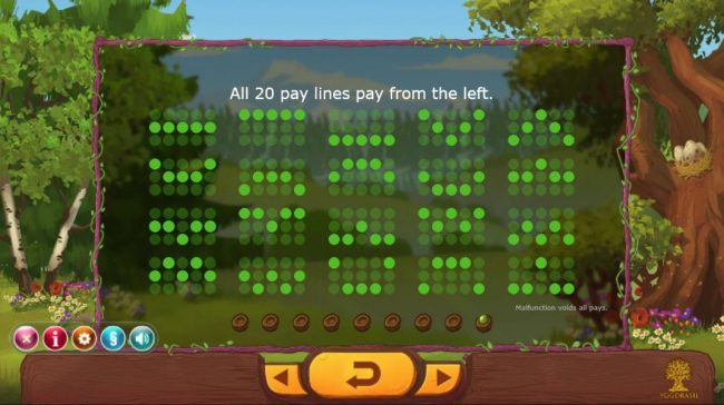 Seasons :: Payline Diagrams 1-20. All 20 pay lines pay from left to right.