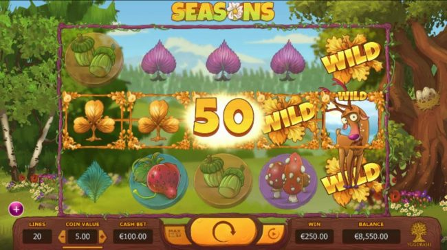 Seasons :: A five of a kind triggers a 50 coin line pay.