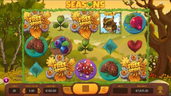 Seasons :: Free Spins scatter symbols triggers 15 free spins