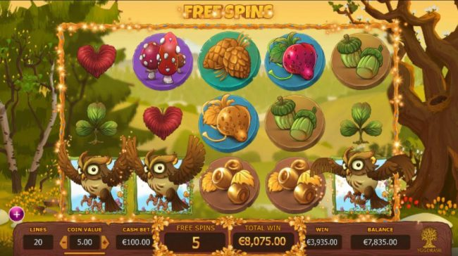 Seasons :: A five of a kind triggers a mega win during the free spins feature.