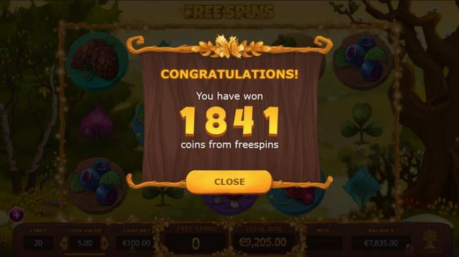 Seasons :: The free spins feature pays out a total of 1841 coins.