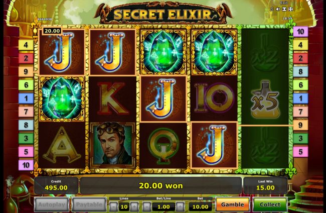 Secret Elixir :: Scatter win triggers the free spins feature