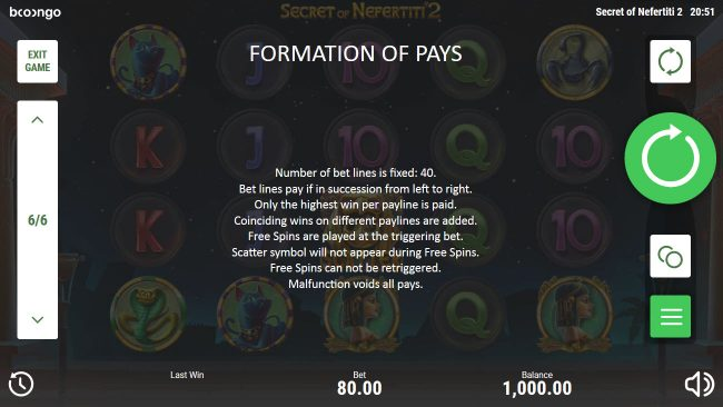 Secret of Nefertiti 2 :: Formation Pays